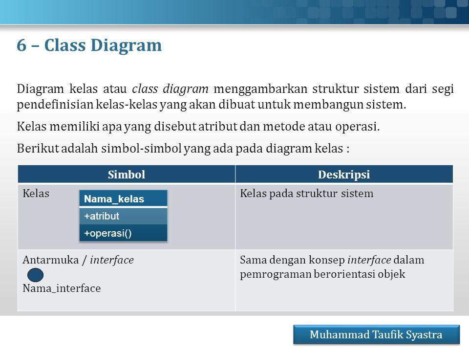 6 – Class Diagram Diagram kelas atau class diagram menggambarkan struktur sistem dari segi pendefinisian kelas-kelas yang akan dibuat untuk membangun