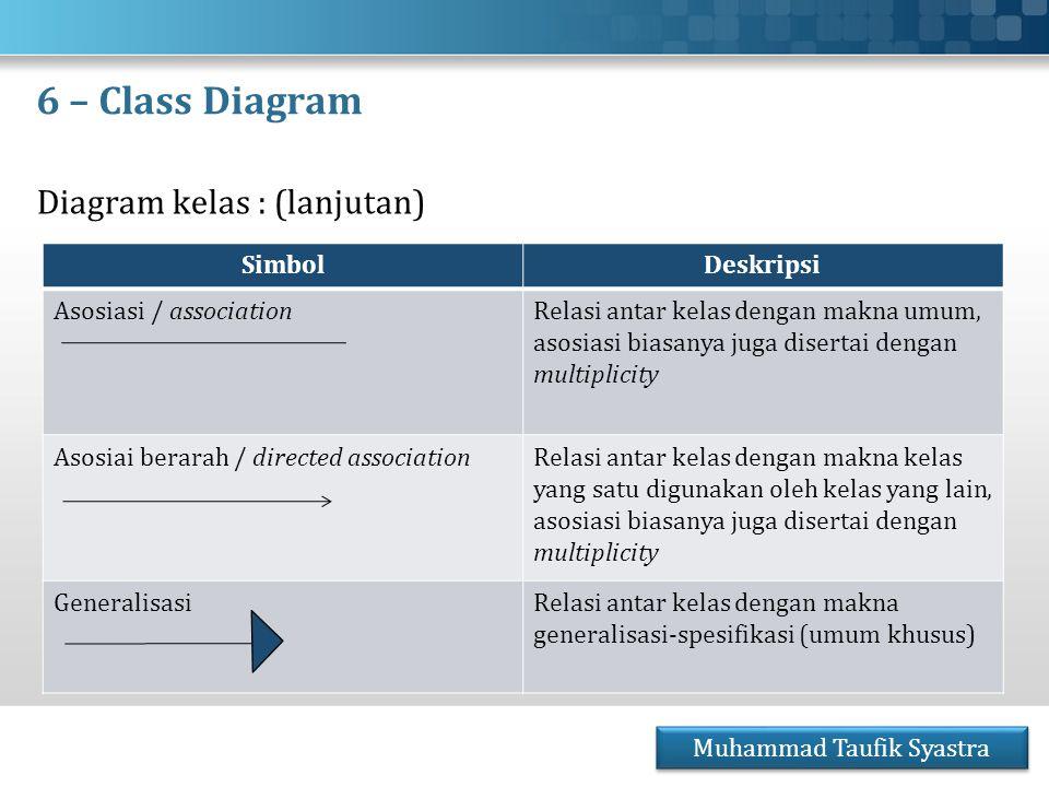 6 – Class Diagram Diagram kelas : (lanjutan) Muhammad Taufik Syastra SimbolDeskripsi Asosiasi / associationRelasi antar kelas dengan makna umum, asosi