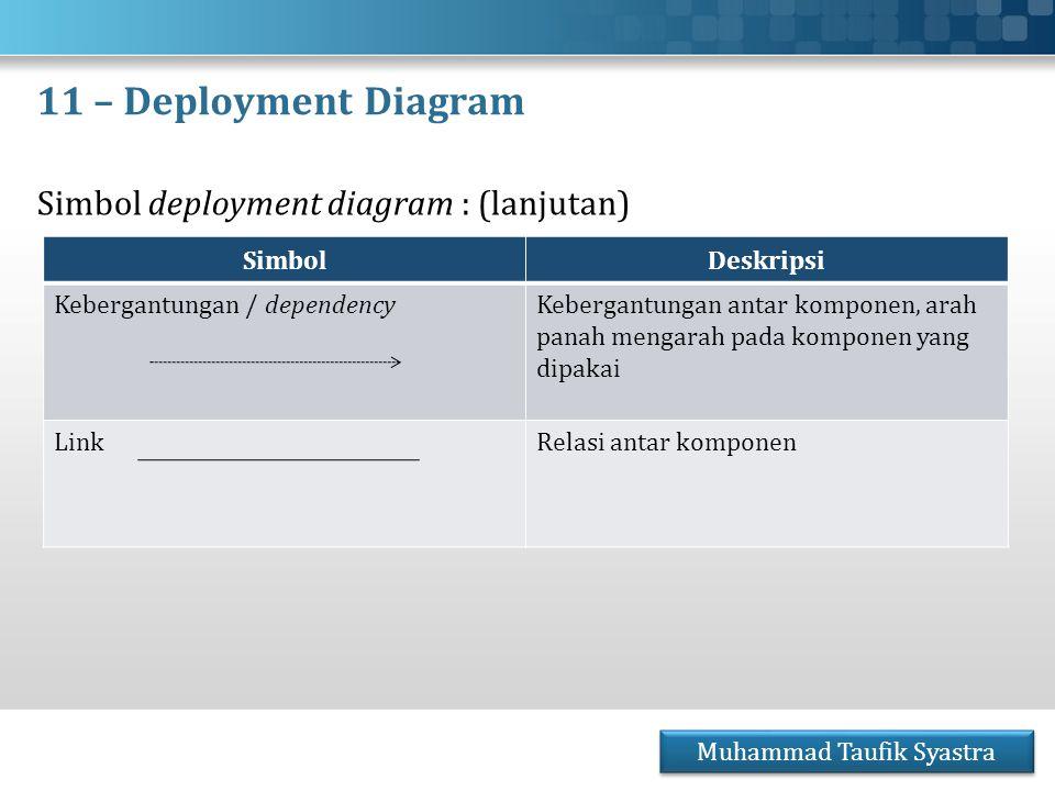 11 – Deployment Diagram Simbol deployment diagram : (lanjutan) Muhammad Taufik Syastra SimbolDeskripsi Kebergantungan / dependencyKebergantungan antar