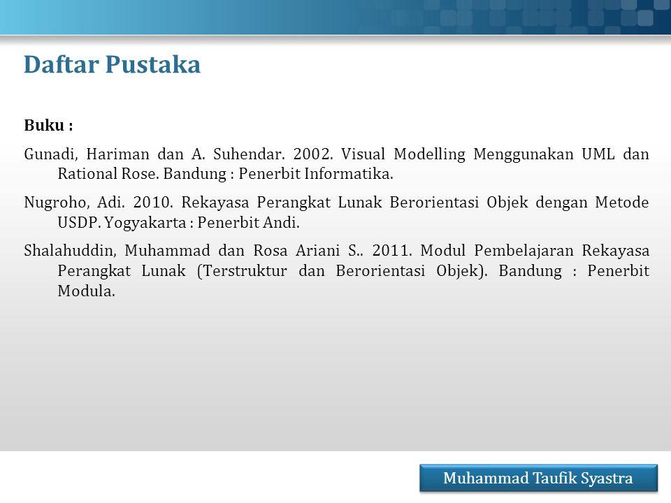 Daftar Pustaka Buku : Gunadi, Hariman dan A. Suhendar. 2002. Visual Modelling Menggunakan UML dan Rational Rose. Bandung : Penerbit Informatika. Nugro