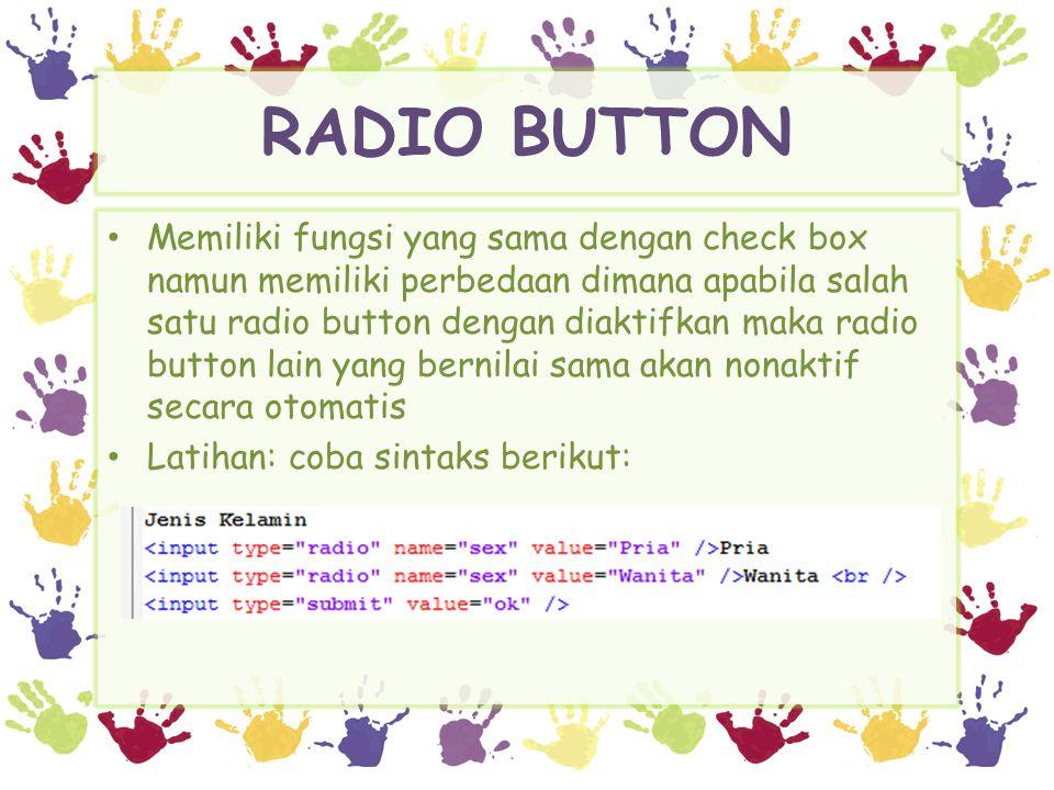 RADIO BUTTON Hasil