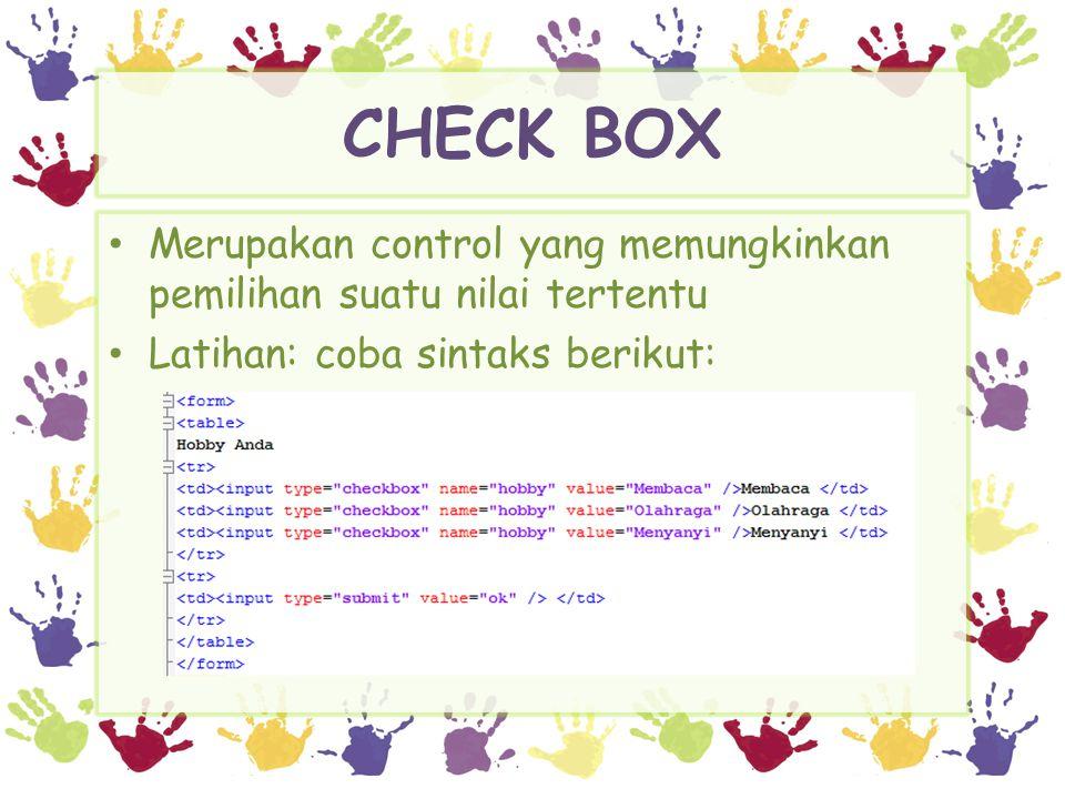 CHECK BOX Hasil