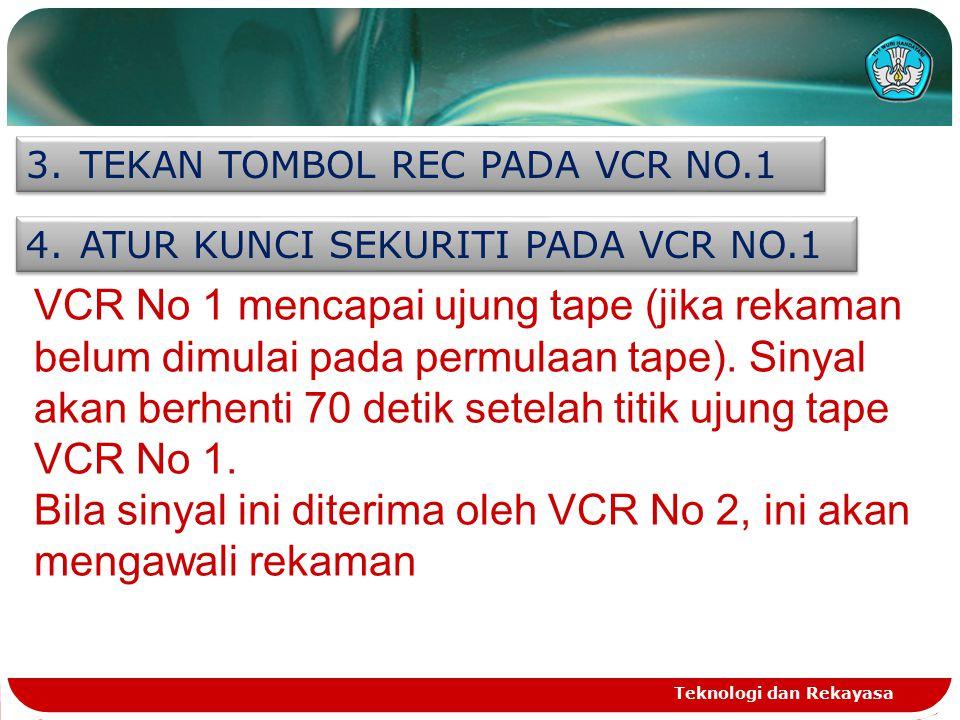 Teknologi dan Rekayasa 3.TEKAN TOMBOL REC PADA VCR NO.1 4.ATUR KUNCI SEKURITI PADA VCR NO.1 VCR No 1 mencapai ujung tape (jika rekaman belum dimulai p