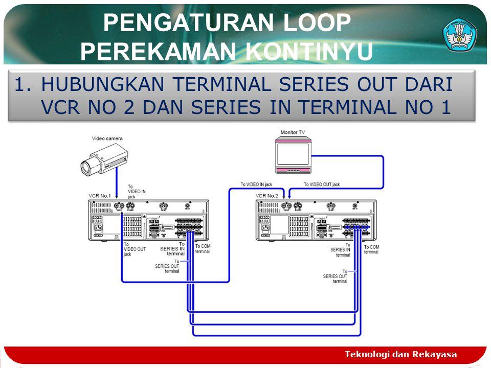 PENGATURAN LOOP PEREKAMAN KONTINYU Teknologi dan Rekayasa 1.HUBUNGKAN TERMINAL SERIES OUT DARI VCR NO 2 DAN SERIES IN TERMINAL NO 1