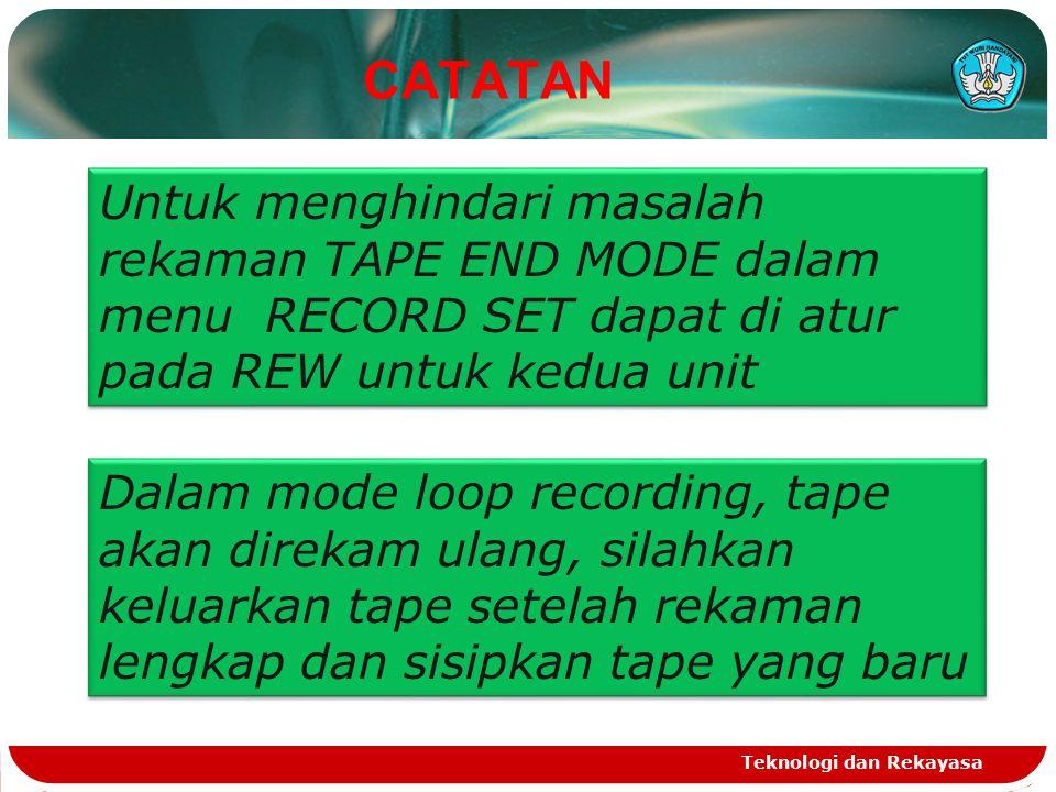 CATATAN Teknologi dan Rekayasa Untuk menghindari masalah rekaman TAPE END MODE dalam menu RECORD SET dapat di atur pada REW untuk kedua unit Dalam mod