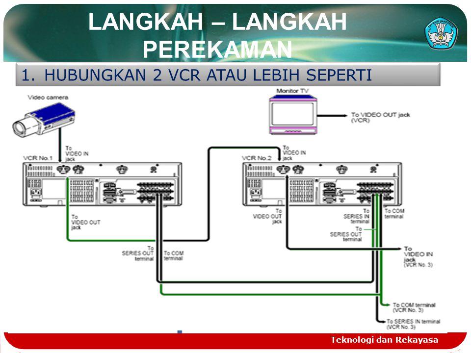 LANGKAH – LANGKAH PEREKAMAN Teknologi dan Rekayasa 1.HUBUNGKAN 2 VCR ATAU LEBIH SEPERTI GAMBAR