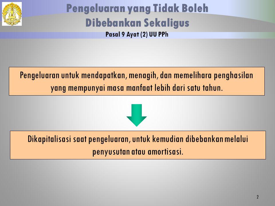 2 Pengeluaran yang Tidak Boleh Dibebankan Sekaligus Pasal 9 Ayat (2) UU PPh Dikapitalisasi saat pengeluaran, untuk kemudian dibebankan melalui penyusu