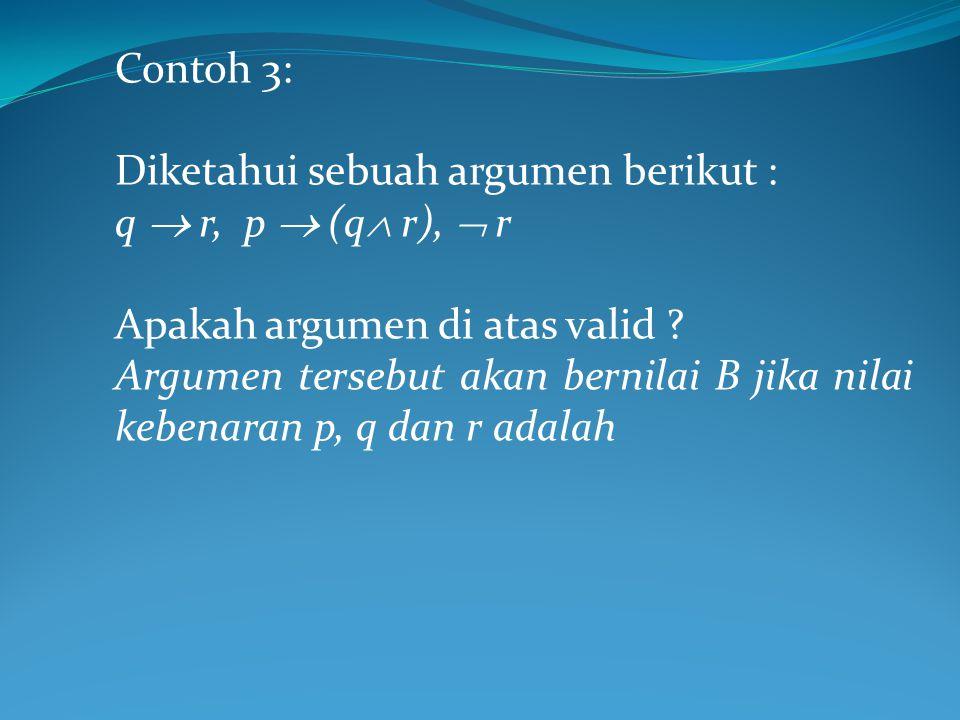 Contoh 3: Diketahui sebuah argumen berikut : q  r, p  (q  r),  r Apakah argumen di atas valid .