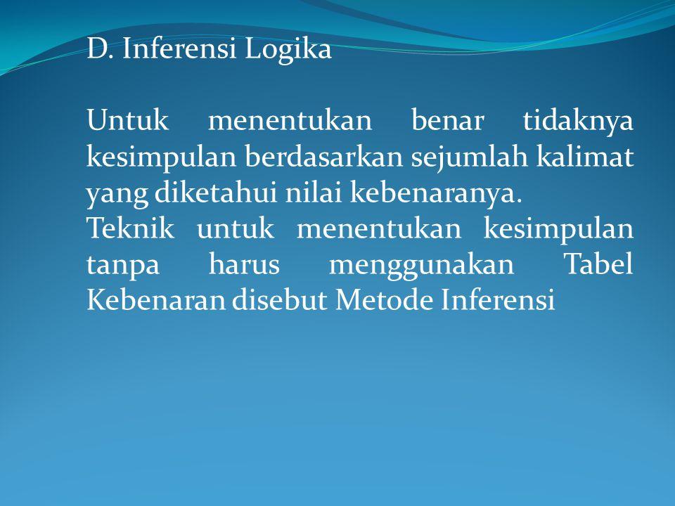 D. Inferensi Logika Untuk menentukan benar tidaknya kesimpulan berdasarkan sejumlah kalimat yang diketahui nilai kebenaranya. Teknik untuk menentukan