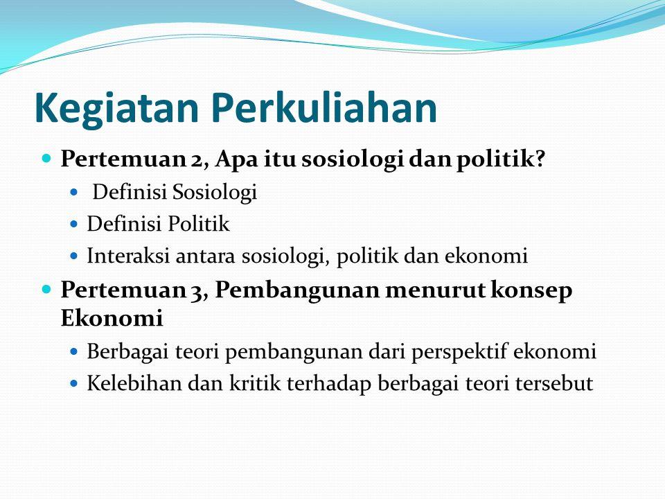 Kegiatan Perkuliahan Pertemuan 2, Apa itu sosiologi dan politik? Definisi Sosiologi Definisi Politik Interaksi antara sosiologi, politik dan ekonomi P