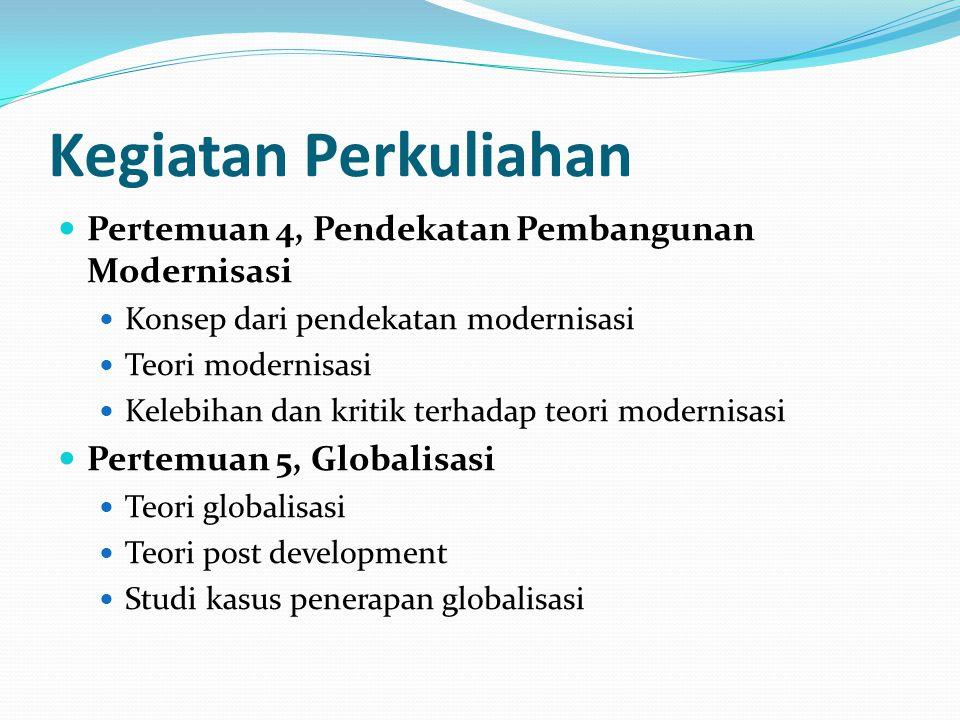 Kegiatan Perkuliahan Pertemuan 6, Pendekatan Partisipatif dalam Pembangunan Keterlibatan masyarakat dalam pembangunan Berbagai teknik pembangunan partisipatif Pertemuan 7, Community Development dalam Pembangunan Teori community development Aplikasi community development dalam proses pembangunan