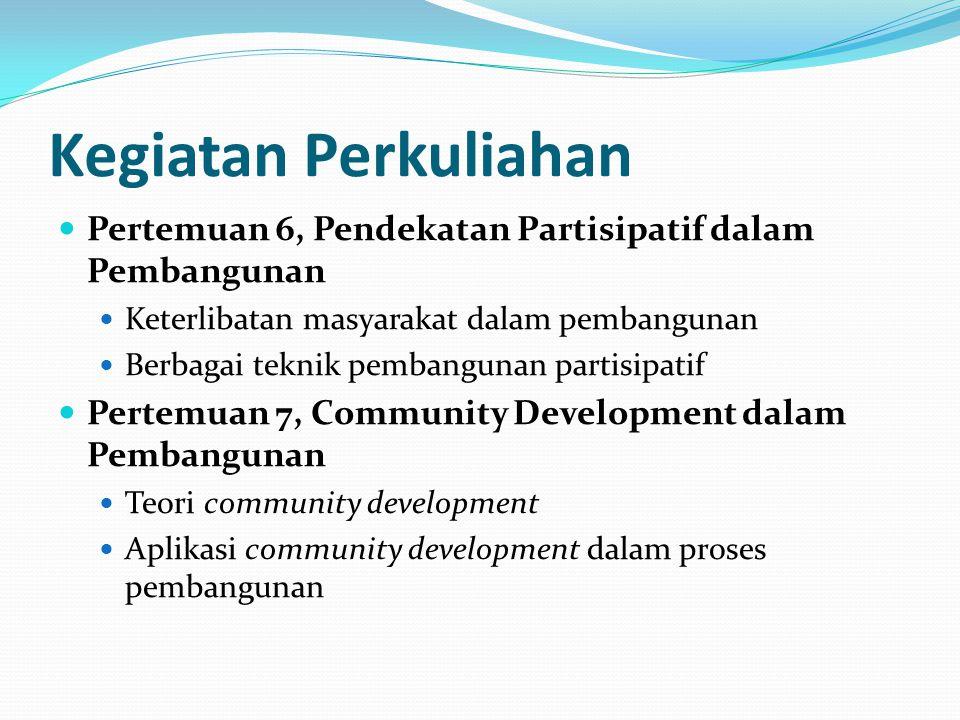 Kegiatan Perkuliahan Pertemuan 8, UTS Pertemuan 9, Partisipasi masyarakat dalam pembangunan Sejarah Otonomi daerah di Indonesia Peraturan-peraturan yang terkait dengan otonomi daerah Ruang partisipasi masyarakat dalam pembangunan di era otonomi daerah Pertemuan 10, Pengentasan kemiskinan Kondisi masalah kemiskinan di Indonesia Tinjauan berbagai kebijakan pengentasan kemiskinan di Indonesia