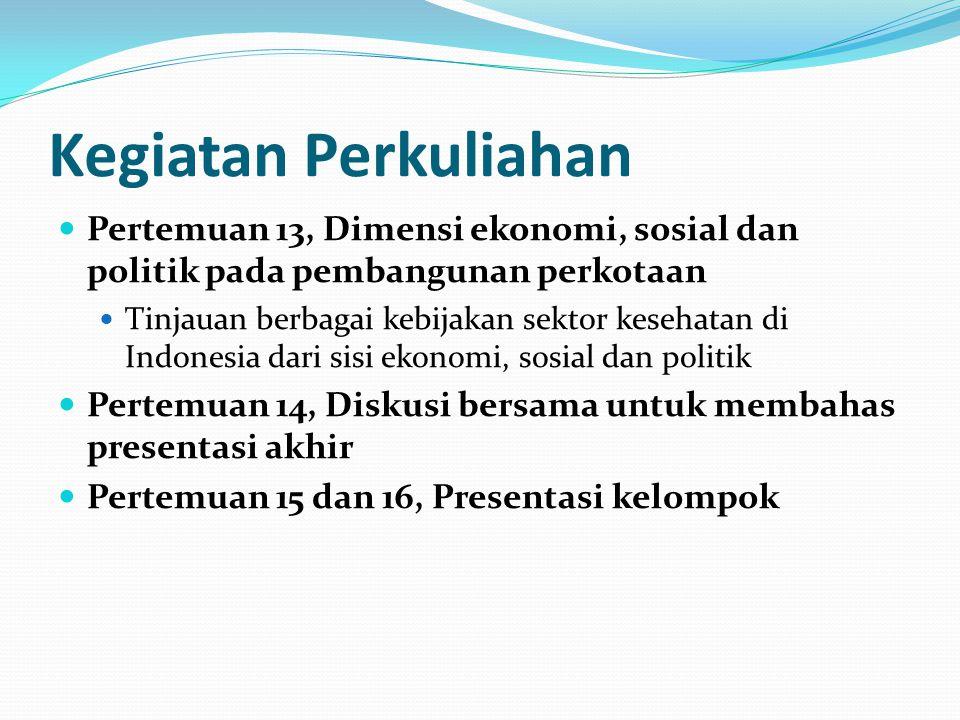 Kegiatan Perkuliahan Pertemuan 13, Dimensi ekonomi, sosial dan politik pada pembangunan perkotaan Tinjauan berbagai kebijakan sektor kesehatan di Indo