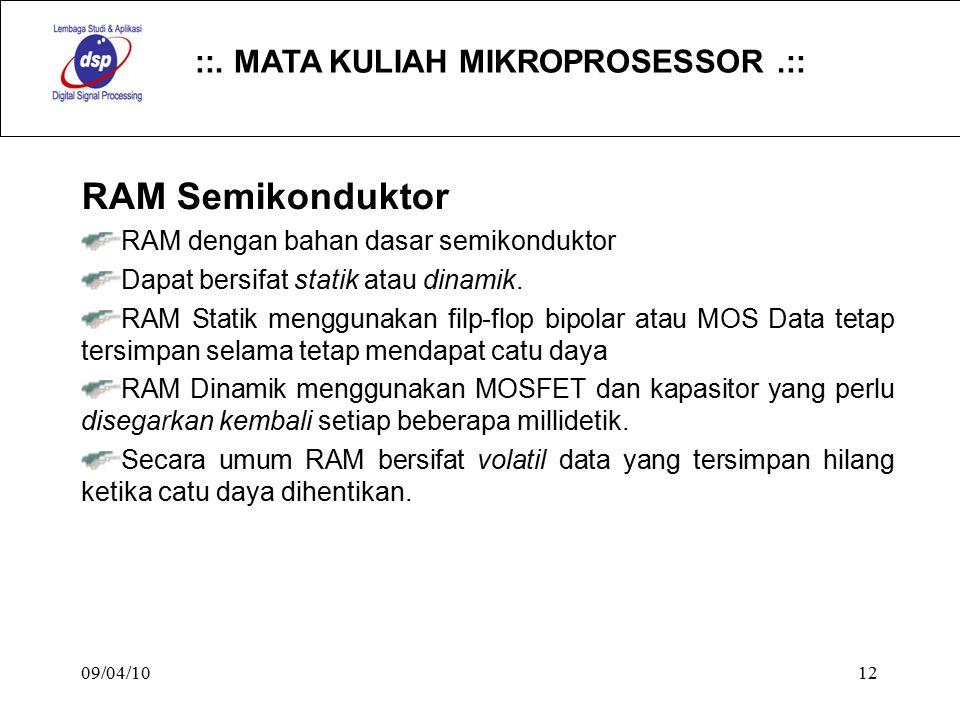 ::. MATA KULIAH MIKROPROSESSOR.:: 09/04/1012 RAM Semikonduktor RAM dengan bahan dasar semikonduktor Dapat bersifat statik atau dinamik. RAM Statik men