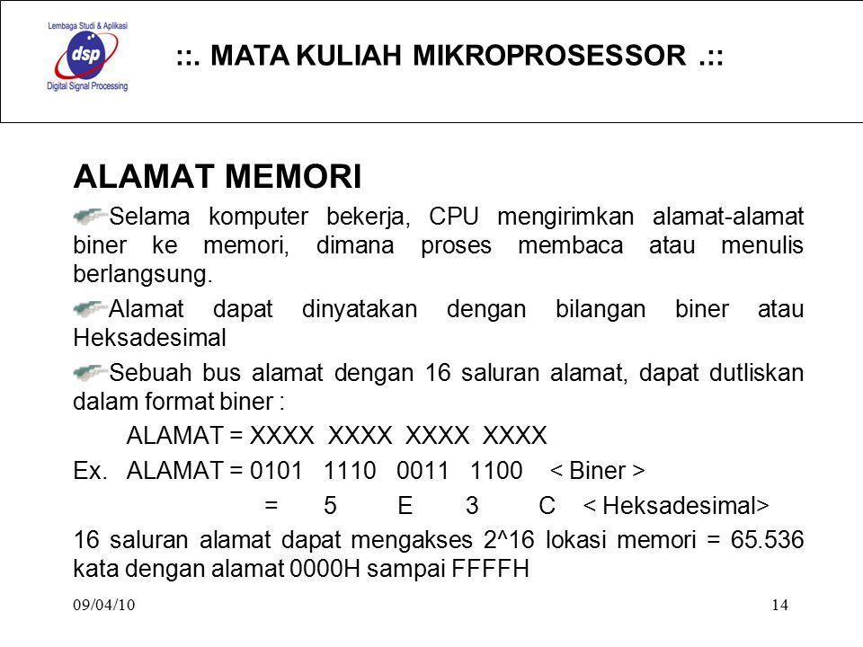 ::. MATA KULIAH MIKROPROSESSOR.:: 09/04/1014 ALAMAT MEMORI Selama komputer bekerja, CPU mengirimkan alamat-alamat biner ke memori, dimana proses memba