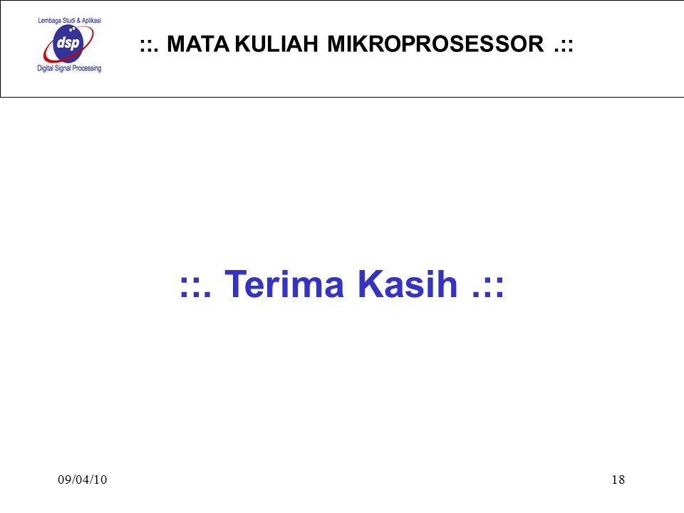 ::. MATA KULIAH MIKROPROSESSOR.:: 09/04/1018 ::. Terima Kasih.::