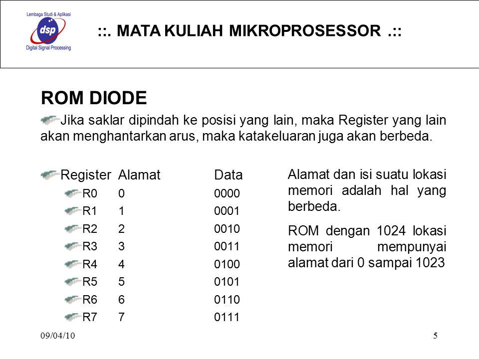::. MATA KULIAH MIKROPROSESSOR.:: 09/04/105 ROM DIODE Jika saklar dipindah ke posisi yang lain, maka Register yang lain akan menghantarkan arus, maka