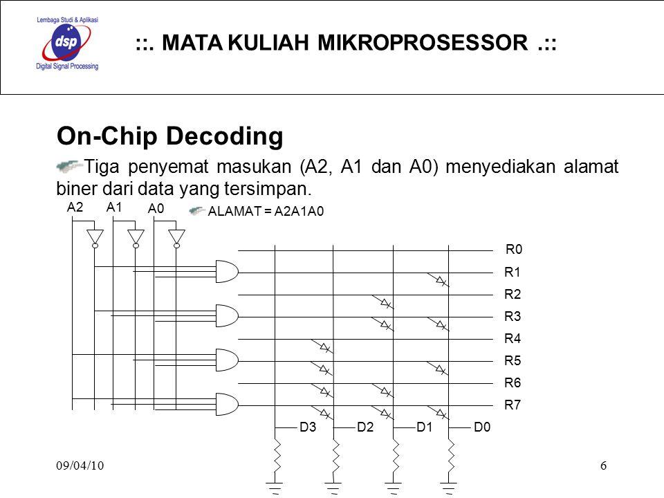 ::. MATA KULIAH MIKROPROSESSOR.:: 09/04/106 On-Chip Decoding Tiga penyemat masukan (A2, A1 dan A0) menyediakan alamat biner dari data yang tersimpan.