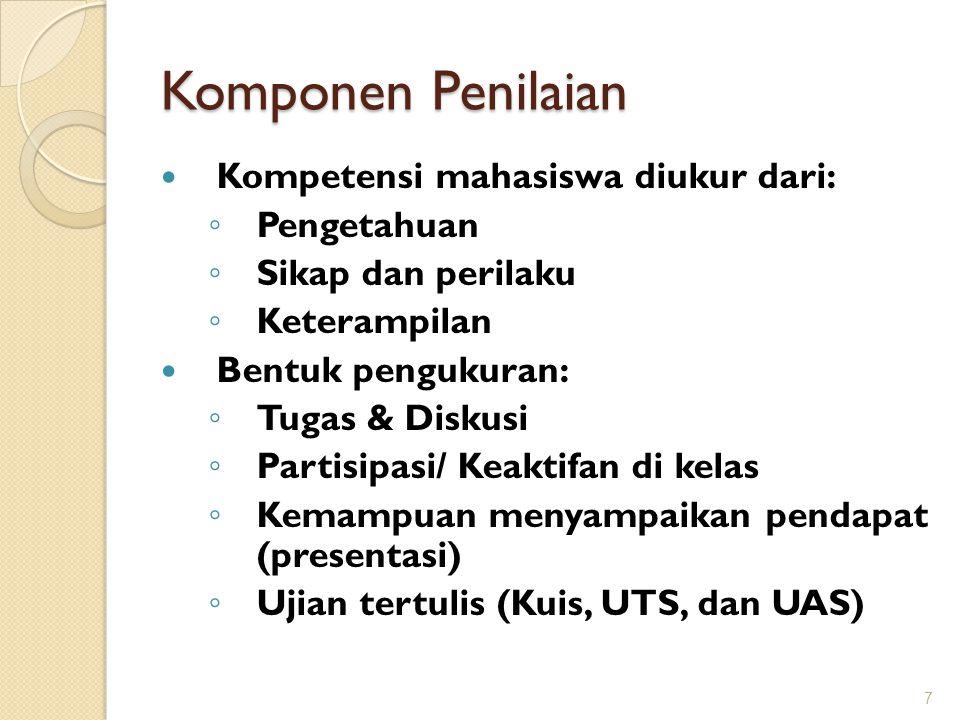 Komponen Penilaian Kompetensi mahasiswa diukur dari: ◦ Pengetahuan ◦ Sikap dan perilaku ◦ Keterampilan Bentuk pengukuran: ◦ Tugas & Diskusi ◦ Partisip
