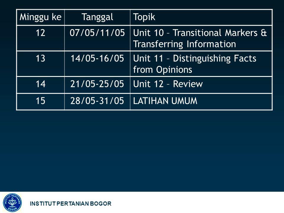 INSTITUT PERTANIAN BOGOR Minggu keTanggalTopik 1207/05/11/05Unit 10 – Transitional Markers & Transferring Information 1314/05-16/05Unit 11 – Distingui