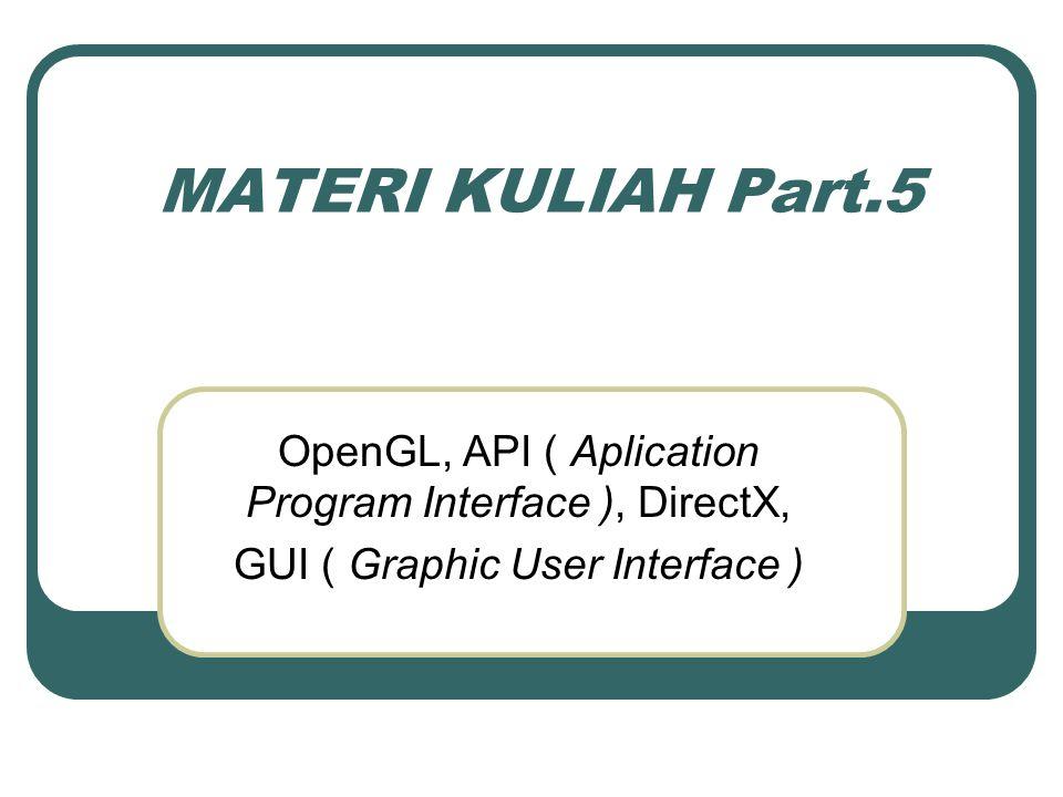 OpenGL OpenGL adalah API yang dikenalkan oleh SGI (Silicon Graphics Inc) kali pertama pada tahun 1980-an.