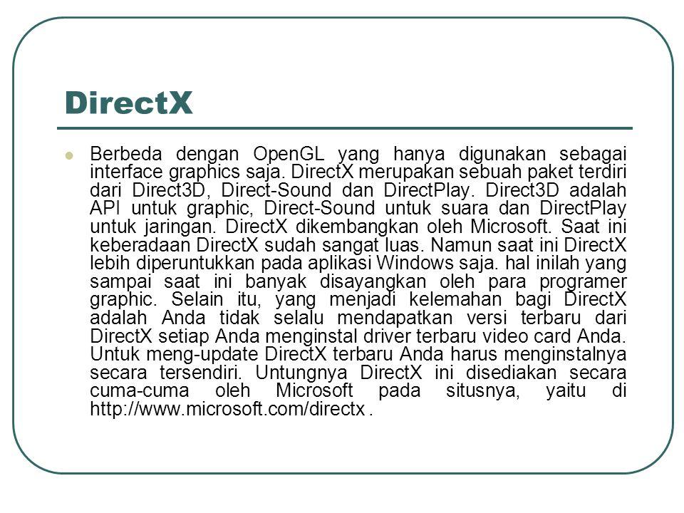 DirectX Berbeda dengan OpenGL yang hanya digunakan sebagai interface graphics saja. DirectX merupakan sebuah paket terdiri dari Direct3D, Direct-Sound