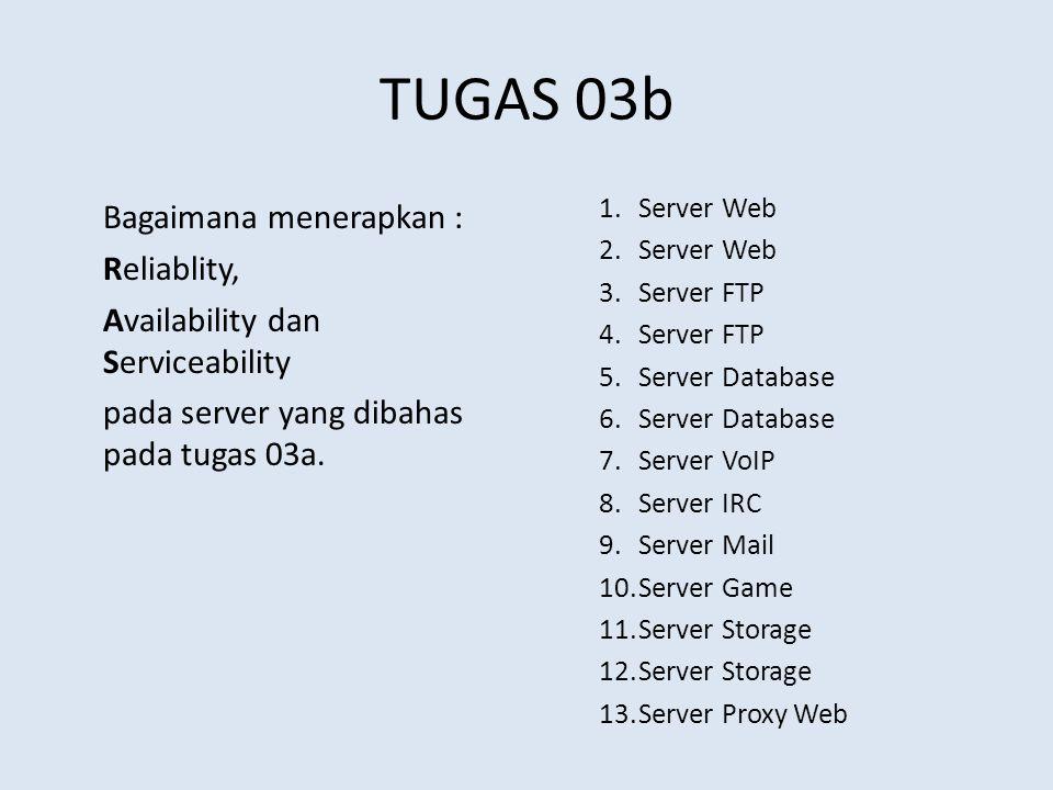 TUGAS 03b Bagaimana menerapkan : Reliablity, Availability dan Serviceability pada server yang dibahas pada tugas 03a. 1.Server Web 2.Server Web 3.Serv