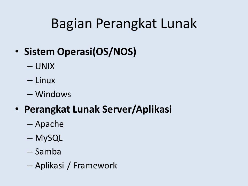 Bagian Perangkat Lunak Sistem Operasi(OS/NOS) – UNIX – Linux – Windows Perangkat Lunak Server/Aplikasi – Apache – MySQL – Samba – Aplikasi / Framework