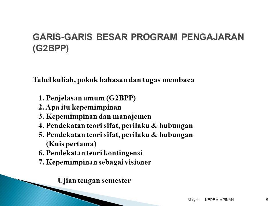 KEPEMIMPINANMulyati5 Tabel kuliah, pokok bahasan dan tugas membaca 1. Penjelasan umum (G2BPP) 2. Apa itu kepemimpinan 3. Kepemimpinan dan manajemen 4.