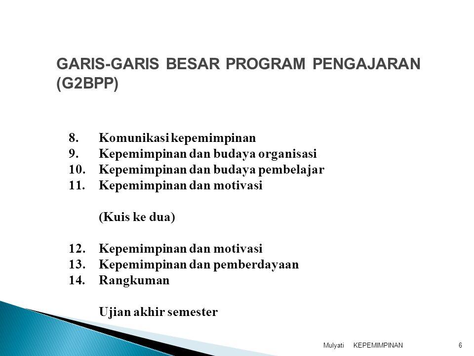KEPEMIMPINANMulyati6 8.Komunikasi kepemimpinan 9.Kepemimpinan dan budaya organisasi 10.Kepemimpinan dan budaya pembelajar 11.Kepemimpinan dan motivasi