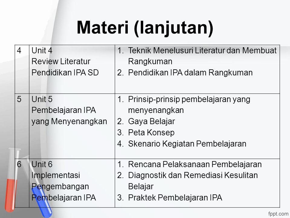 Materi (lanjutan) 4 Unit 4 Review Literatur Pendidikan IPA SD 1.Teknik Menelusuri Literatur dan Membuat Rangkuman 2.Pendidikan IPA dalam Rangkuman 5 U