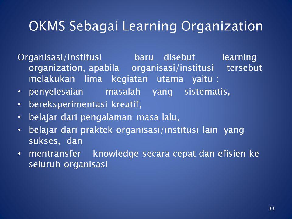 32 Mata Kuliah Teori dan Design Organisasi Adapun manfaat Knowledge Management dalam organisasi, meliputi penyediaan hal-hal sebagai berikut: 1.Gambar