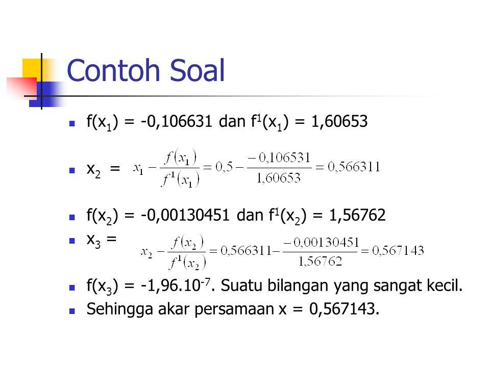 Contoh Soal f(x 1 ) = -0,106631 dan f 1 (x 1 ) = 1,60653 x 2 = f(x 2 ) = -0,00130451 dan f 1 (x 2 ) = 1,56762 x 3 = f(x 3 ) = -1,96.10 -7. Suatu bilan