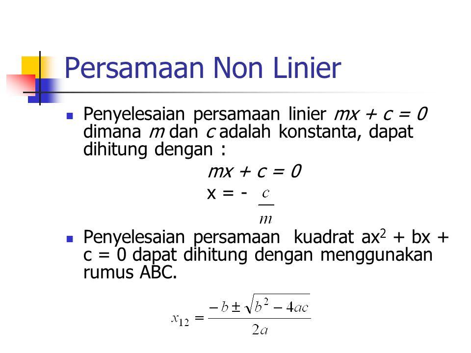 Penyelesaian Persamaan Non Linier Metode Tertutup Mencari akar pada range [a,b] tertentu Dalam range[a,b] dipastikan terdapat satu akar Hasil selalu konvergen  disebut juga metode konvergen Metode Terbuka Diperlukan tebakan awal x n dipakai untuk menghitung x n+1 Hasil dapat konvergen atau divergen