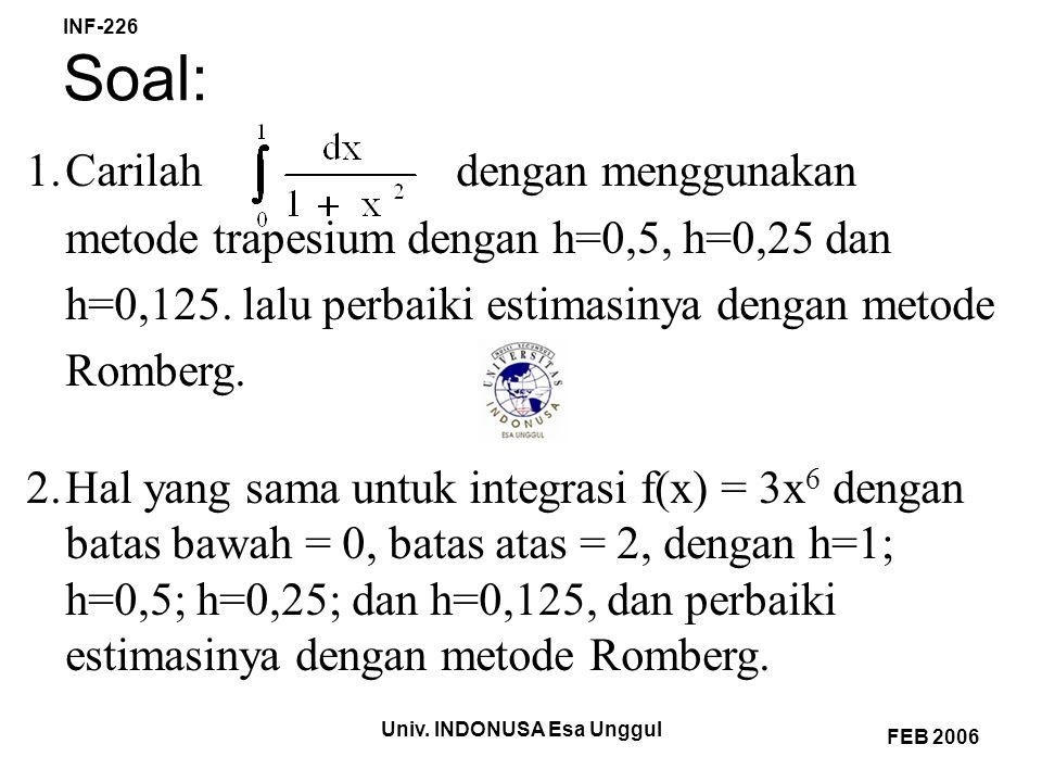 Univ. INDONUSA Esa Unggul INF-226 FEB 2006 Soal: 1.Carilah dengan menggunakan metode trapesium dengan h=0,5, h=0,25 dan h=0,125. lalu perbaiki estimas