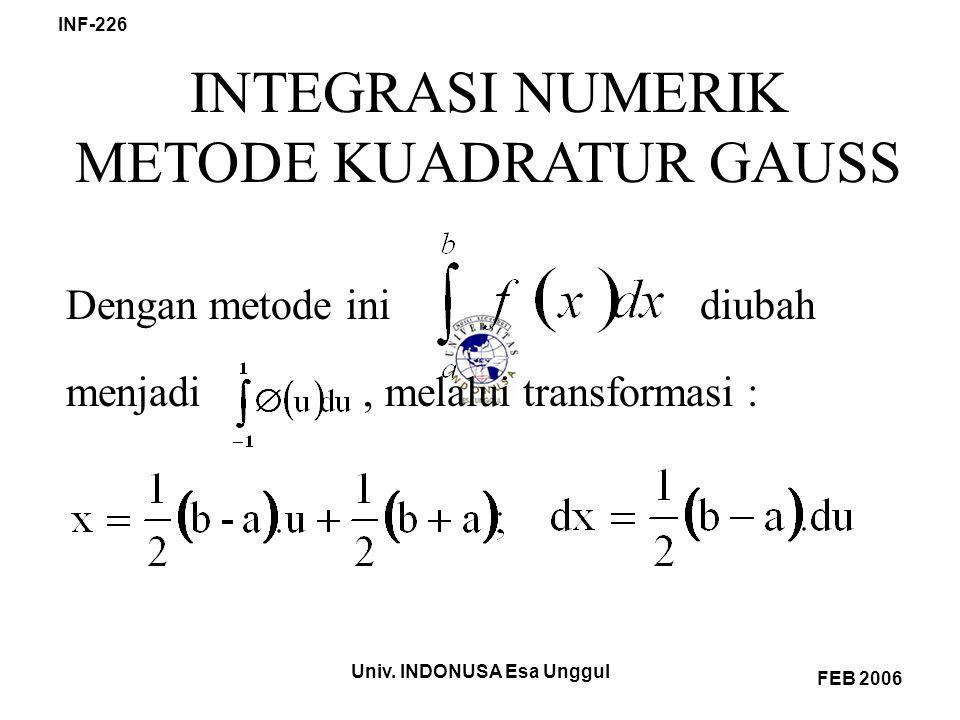 Univ. INDONUSA Esa Unggul INF-226 FEB 2006 INTEGRASI NUMERIK METODE KUADRATUR GAUSS Dengan metode ini diubah menjadi, melalui transformasi :