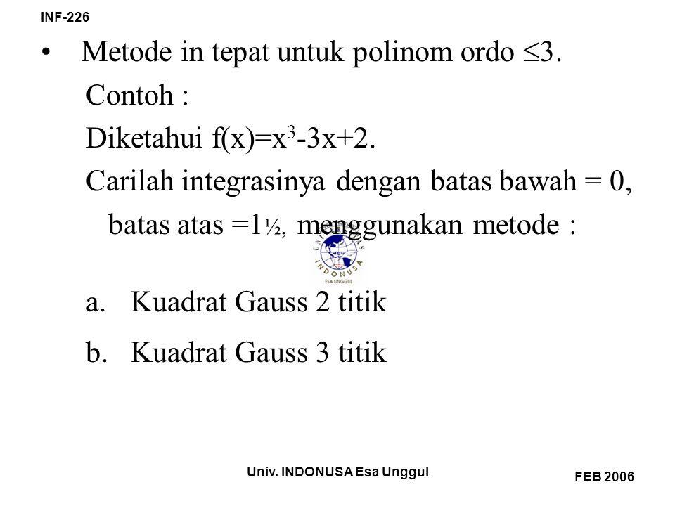Univ. INDONUSA Esa Unggul INF-226 FEB 2006 Metode in tepat untuk polinom ordo  3. Contoh : Diketahui f(x)=x 3 -3x+2. Carilah integrasinya dengan bata