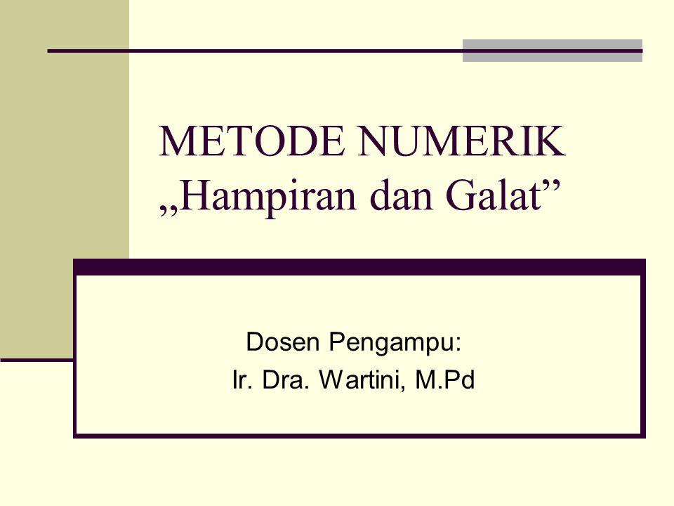 "METODE NUMERIK ""Hampiran dan Galat"" Dosen Pengampu: Ir. Dra. Wartini, M.Pd"