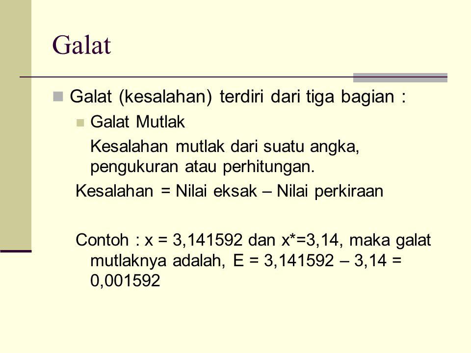 Galat Galat (kesalahan) terdiri dari tiga bagian : Galat Mutlak Kesalahan mutlak dari suatu angka, pengukuran atau perhitungan. Kesalahan = Nilai eksa