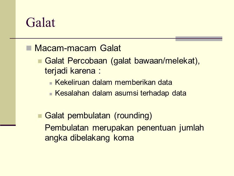 Galat Macam-macam Galat Galat Percobaan (galat bawaan/melekat), terjadi karena : Kekeliruan dalam memberikan data Kesalahan dalam asumsi terhadap data Galat pembulatan (rounding) Pembulatan merupakan penentuan jumlah angka dibelakang koma