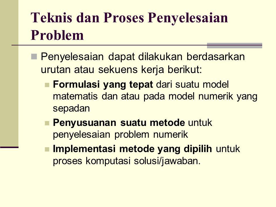 Teknis dan Proses Penyelesaian Problem Penyelesaian dapat dilakukan berdasarkan urutan atau sekuens kerja berikut: Formulasi yang tepat dari suatu mod