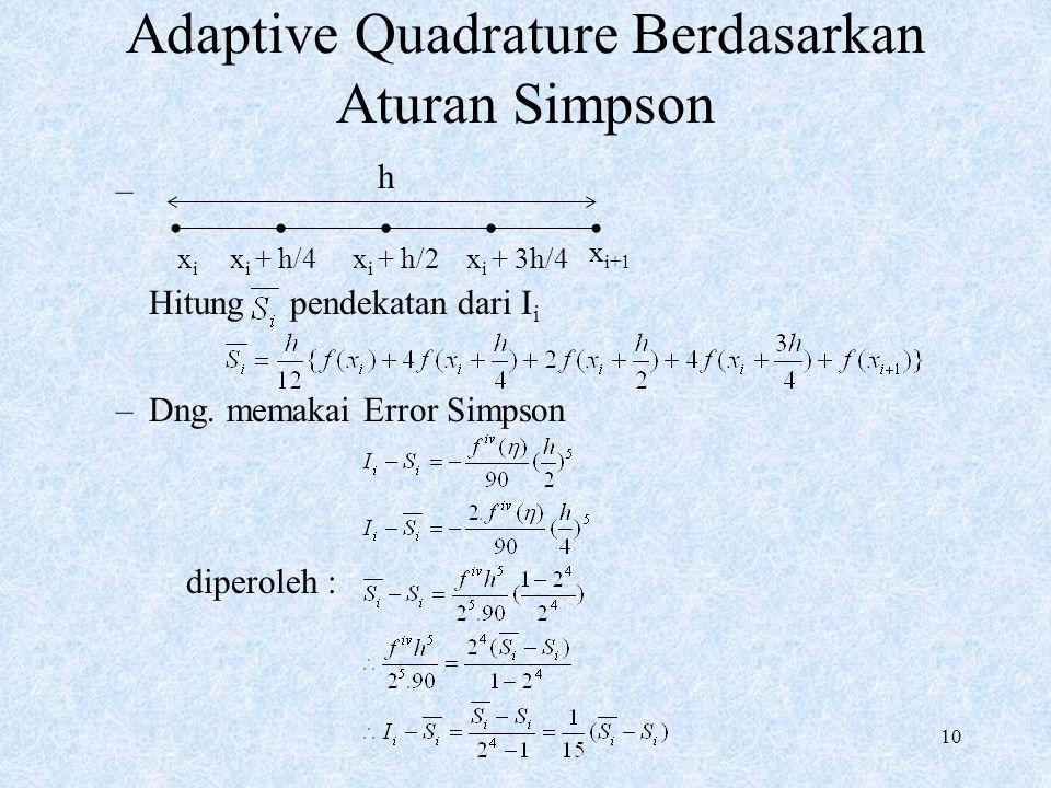 10 Adaptive Quadrature Berdasarkan Aturan Simpson – Hitung pendekatan dari I i –Dng. memakai Error Simpson diperoleh : h xixi x i + h/4 x i+1 x i + 3h