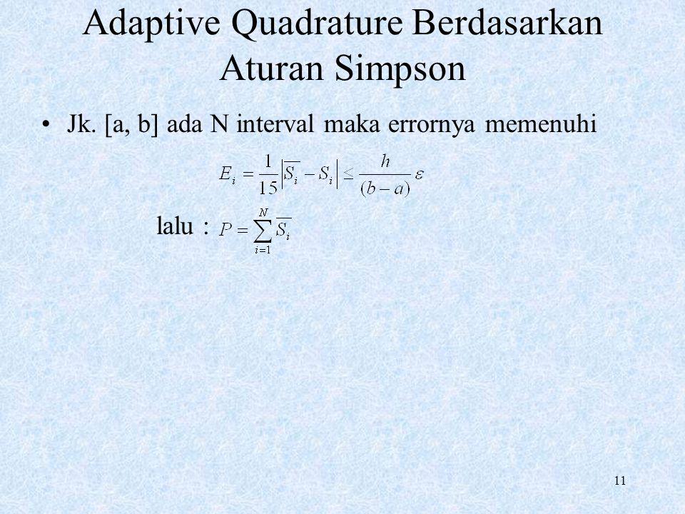 11 Adaptive Quadrature Berdasarkan Aturan Simpson Jk. [a, b] ada N interval maka errornya memenuhi lalu :