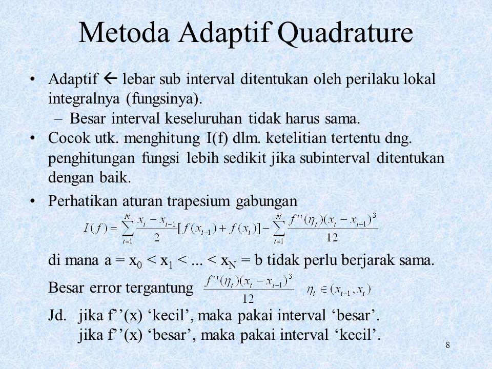 8 Metoda Adaptif Quadrature Adaptif  lebar sub interval ditentukan oleh perilaku lokal integralnya (fungsinya). –Besar interval keseluruhan tidak har