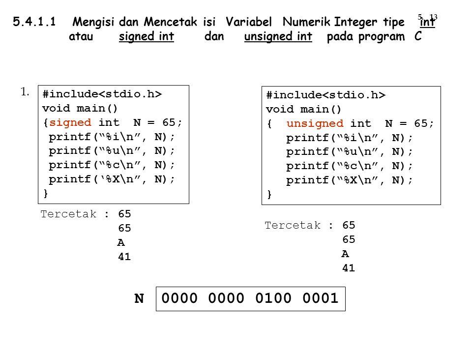"Tercetak : 65 65 A 41 #include void main() {signed int N = 65; printf(""%i\n"", N); printf(""%u\n"", N); printf(""%c\n"", N); printf('%X\n"", N); } #include"