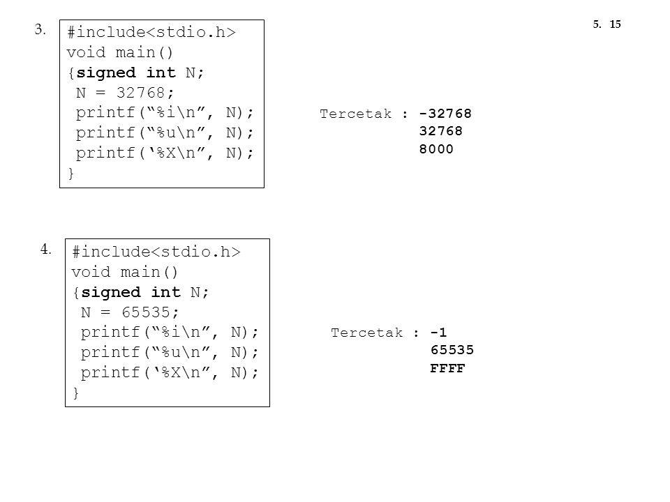 """Tercetak : -32768 32768 8000 #include void main() {signed int N; N = 32768; printf(""""%i\n"""", N); printf(""""%u\n"""", N); printf('%X\n"""", N); } 3. Tercetak : -"""