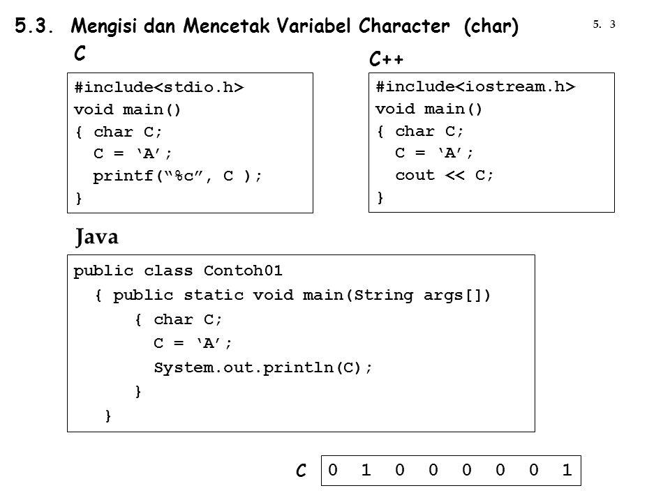 "5.3. Mengisi dan Mencetak Variabel Character (char) #include void main() { char C; C = 'A'; printf(""%c"", C ); } C #include void main() { char C; C = '"