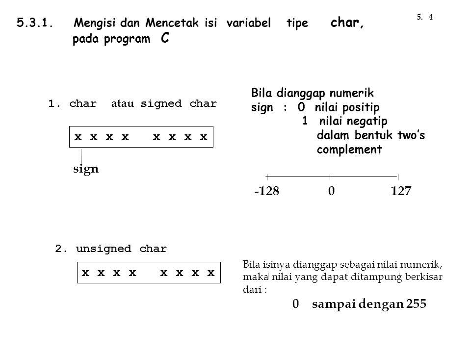 5.3.1. Mengisi dan Mencetak isi variabel tipe char, pada program C 1. char atau signed char x x x x sign -1280127 2. unsigned char x x x x Bila isinya