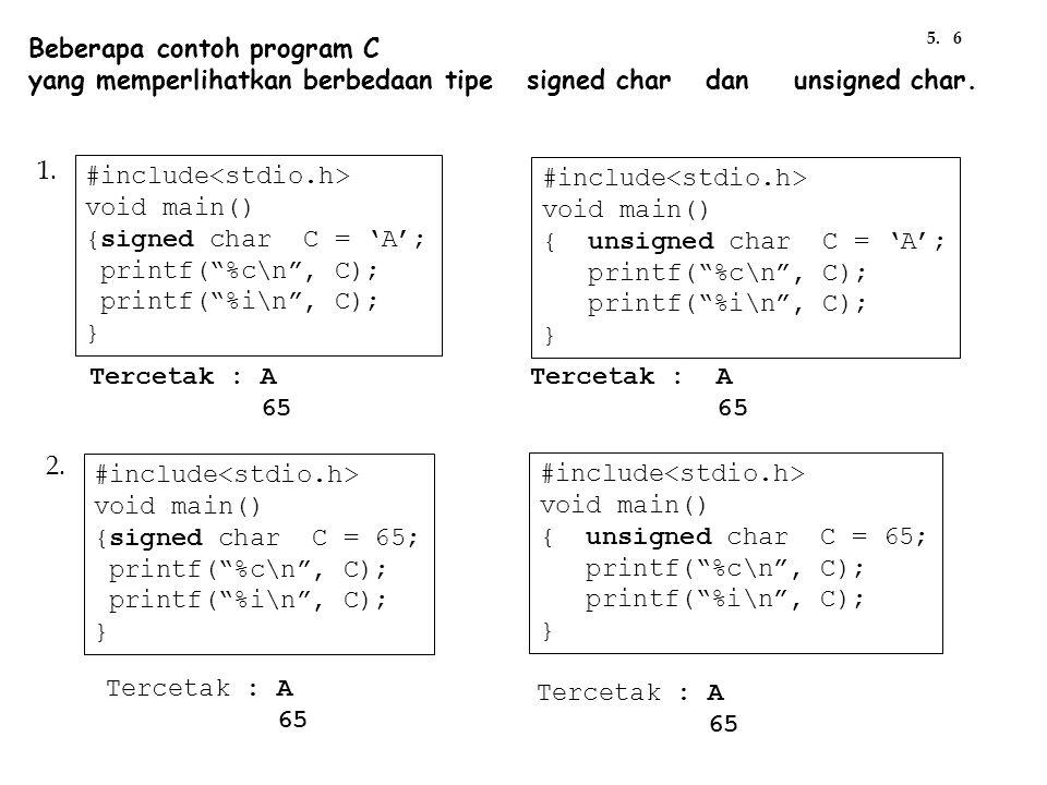 Beberapa contoh program C yang memperlihatkan berbedaan tipe signed char dan unsigned char. Tercetak : A 65 #include void main() {signed char C = 'A';