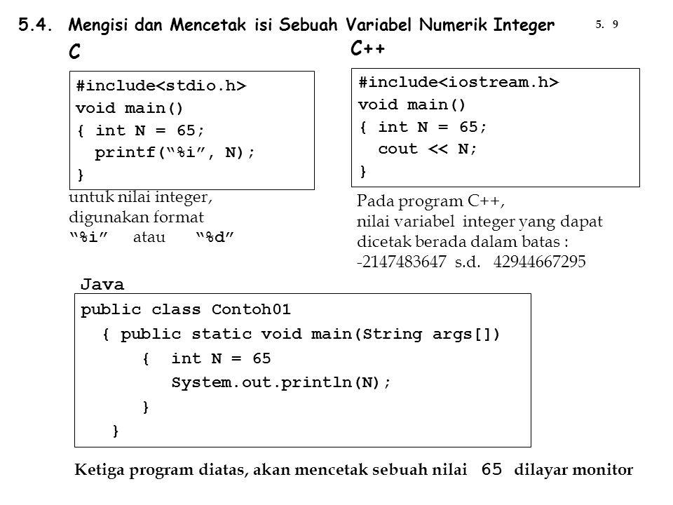 #include void main() { unsigned int N = 65; printf( %u , N); } #include void main() { float F = 25.75 printf( %f , F); } #include void main() { long int N = 65; printf( %li , N); } #include void main() { double D = 25.75; printf( %f , D); } Beberapa Contoh Pencetakan Variabel Numerik khusus pada program C tercetak : 65tercetak : 25.750000 tercetak : 65 tercetak : 25.750000